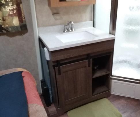 camper vanity, sink install